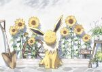 :3 absurdres blush closed_eyes closed_mouth commentary_request flower gen_1_pokemon highres jolteon nako_(nekono_shippo75) no_humans plant pokemon pokemon_(creature) potted_plant shovel sitting smile solo sunflower