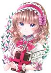 1girl alice_margatroid bangs blonde_hair blue_dress book bow cape closed_mouth dress eyebrows_visible_through_hair floral_background flower hair_between_eyes hairband hand_up jaku_sono leaf pink_bow pink_flower pink_hairband pink_neckwear puffy_short_sleeves puffy_sleeves short_hair short_sleeves simple_background smile solo touhou white_background white_cape white_sleeves wrist_cuffs