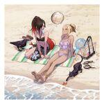 2girls absurdres anklet barefoot beach beach_towel bikini bird black_hair blonde_hair cat crab crow crow_(gravity_daze) dark-skinned_female dark_skin domodesu dusty_(gravity_daze) floating floating_object floral_print footprints frilled_bikini frills gravity_daze hair_over_one_eye highres jewelry kitten_(gravity_daze) multicolored_hair multiple_girls ponytail red_eyes redhead sand sarong side-tie_bikini swimsuit towel two-tone_hair water