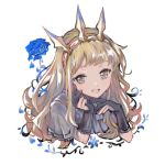 1girl bangs black_gloves blonde_hair blue_flower blue_rose brown_hair cagliostro_(granblue_fantasy) capelet crown flower gloves granblue_fantasy hairband highres jewelry kuzumiya_yuyu long_hair looking_at_viewer open_mouth rose simple_background solo white_background