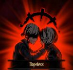 1boy 1girl absurdres bangs black_background black_blindfold black_dress black_gloves black_hairband blindfold commentary crossover darkest_dungeon dress english_text forehead-to-forehead from_side gloves hairband hands_on_another's_face highres light long_sleeves nier_(series) nier_automata red_background short_hair smile sorapoi upper_body weapon yorha_no._2_type_b yorha_no._9_type_s