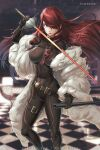 1girl bodysuit breasts covered_navel framed_breasts hair_over_one_eye hybridmink impossible_bodysuit impossible_clothes kirijou_mitsuru large_breasts long_hair persona persona_3 persona_4:_the_ultimate_in_mayonaka_arena rapier redhead sheath sword tagme weapon yellow_eyes