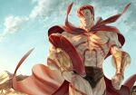 1boy abs bare_pectorals black_shorts bracer bulge cape chest_tattoo fate/grand_order fate_(series) feet_out_of_frame hair_strand headwear_removed helmet helmet_removed highres large_pectorals leg_tattoo leonidas_(fate) male_focus muscular muscular_male navel no_nipples pectorals red_cape redhead short_hair short_shorts shorts sib_(utau7) smile solo stomach tattoo thick_thighs thighs walking wind
