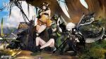3girls ahoge antenna_hair arknights bandeau bare_legs bare_shoulders black_bandeau black_footwear black_gloves black_hair black_legwear black_panties black_shirt black_shorts chinese_commentary closed_eyes commentary copyright_name crocodilian_tail cup elbow_gloves eunectes_(arknights) flower full_body gavial_(arknights) gloves goggles goggles_around_neck goggles_on_head grass green_hair hair_flower hair_ornament highres holding holding_cup holding_staff indian_style knee_pads long_hair looking_at_viewer multicolored_hair multiple_girls official_art outdoors panties pointy_ears see-through shirt short_hair shorts sitting sky snake_tail squatting staff standing strapless streaked_hair stretch tail thigh-highs thigh_strap thighs tomimi_(arknights) torn_clothes torn_legwear tubetop underwear watermark white_hair yellow_eyes yellow_shirt