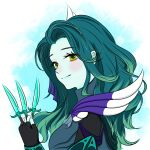 1girl armor bangs black_gloves blush closed_mouth colored_skin defense_of_the_ancients dota_2 fingerless_gloves gloves green_eyes green_hair green_skin highres holding holding_knife knife long_hair long_sleeves looking_at_viewer phantom_assassin_(dota) side_dish_meow smile solo
