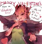 1girl antennae bangs blush breasts cape colored_sclera colored_skin covered_navel dark_willow defense_of_the_ancients dota_2 dress earrings english_commentary english_text finger_to_mouth green_dress hand_up happy_valentine heart heart-shaped_pupils highres holding jewelry medium_breasts monster_girl pointy_ears pussy red_eyes red_skin short_hair smile solo sorapoi speech_bubble sweat symbol-shaped_pupils tongue tongue_out wings yellow_sclera