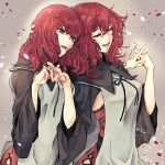 2girls aqua_eyes black_capelet bow capelet closed_eyes commentary commentary_request cross-laced_clothes cross-laced_legwear devola eyebrows_visible_through_hair eyelashes highres holding_hands long_hair messy_hair multiple_girls nier nier_(series) partial_commentary popola redhead rolling_anco siblings sisters twins wide_sleeves