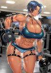 1girl abs ahoge anima_(togashi) blue_eyes blue_hair bra breasts ceiling_light choker covered_nipples dark-skinned_female dark_skin dumbbell exercise gym highres large_breasts lights lips muscular muscular_female nike nipples original shoes sneakers sports_bra steam steaming_body sweat sweatdrop thick_thighs thigh_strap thighs treadmill underwear weightlifting