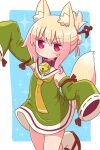 1girl animal_ear_fluff animal_ears arm_up bangs blonde_hair blue_background closed_mouth colored_eyelashes commentary_request detached_sleeves dress eyebrows_visible_through_hair folded_ponytail fox_ears fox_girl fox_tail green_dress green_sleeves hair_between_eyes hair_ornament highres kemomimi-chan_(naga_u) long_sleeves looking_at_viewer naga_u original red_footwear ribbon-trimmed_sleeves ribbon_trim sailor_collar sailor_dress sidelocks sleeveless sleeveless_dress sleeves_past_fingers sleeves_past_wrists socks solo sparkle tail two-tone_background v-shaped_eyebrows white_background white_legwear white_sailor_collar zouri