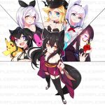6+girls animal_ears black_hair breasts closed_mouth dress ejami fox_ears fox_girl fox_tail gen_1_pokemon long_hair looking_at_viewer multiple_girls open_mouth pikachu pokemon sample simple_background smile tail thigh-highs white_background