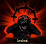 1boy absurdres black_background black_gloves black_jacket blindfold commentary crossover darkest_dungeon gloves hands_on_own_head highres jacket long_sleeves male_focus nier_(series) nier_automata open_mouth red_background red_theme screaming short_hair solo sorapoi teeth upper_body yorha_no._9_type_s