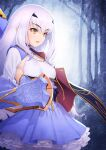 1girl absurdres blue_cape blue_dress breasts brown_eyes cape dress eyebrows_visible_through_hair fairy_knight_lancelot_(fate) fate/grand_order fate_(series) forest frills highres kazuma_muramasa long_hair long_sleeves nature parted_lips sidelocks small_breasts solo weapon white_hair