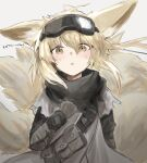 1girl arknights bangs black_scarf blonde_hair dirty dirty_face goggles goggles_on_head grey_tunic hair_between_eyes highres kyuubi multiple_tails official_alternate_costume open_mouth raw_egg_lent scarf solo suzuran_(arknights) suzuran_(lostlands_flowering)_(arknights) tail upper_body