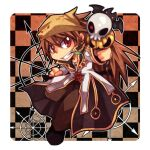1boy bandana bangs black_coat black_footwear border brown_eyes brown_hair brown_headwear brown_pants checkered checkered_background coat commentary_request cross cross_necklace emon-yu eyes_visible_through_hair full_body grin hair_between_eyes high_priest_(ragnarok_online) holding holding_staff jewelry layered_clothing long_hair long_sleeves looking_at_viewer male_focus necklace pants ragnarok_online shoes smile solo staff white_border white_coat