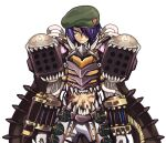 1boy armor bangs beret breastplate closed_mouth commentary_request cowboy_shot emon-yu flask garter_straps genetic_(ragnarok_online) green_headwear hair_between_eyes hair_over_one_eye hat living_clothes looking_at_viewer midriff missile_pod pants purple_hair ragnarok_online round-bottom_flask short_hair simple_background smile solo teeth vial white_background white_pants yellow_eyes