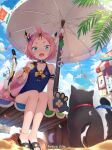 1girl animal animal_ear_fluff animal_ears arm_support artist_name bangs_pinned_back bare_shoulders beach beach_umbrella bird black_cat black_footwear blue_sky blue_swimsuit blurry blurry_foreground casual_one-piece_swimsuit cat cat_ears cat_girl cat_tail clouds cloudy_sky commentary_request day depth_of_field diona_(genshin_impact) fang food food_on_face frilled_swimsuit frills genshin_impact green_eyes holding holding_food liclac one-piece_swimsuit open_mouth outdoors pink_hair sand sandals short_eyebrows sitting sky solo string_of_flags swimsuit tail tail_raised thick_eyebrows umbrella
