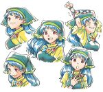 1girl apron arm_ribbon arms_up bangs between_fingers blue_hair blue_ribbon blush breasts brush closed_eyes closed_mouth dress eyebrows_visible_through_hair green_apron green_headwear hand_up hands_up haniyasushin_keiki highres holding long_hair looking_at_viewer looking_away looking_to_the_side medium_breasts open_mouth pink_eyes puffy_short_sleeves puffy_sleeves ribbon shikido_(khf) short_sleeves simple_background smile solo surprised teeth touhou upper_body white_background yellow_dress yellow_sleeves