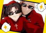 1boy 1girl archer_(fate) black_hair commentary_request eyebrows_visible_through_hair fate/stay_night fate_(series) highres karasaki long_hair long_sleeves looking_at_viewer selfie sparkle speech_bubble sunglasses tohsaka_rin upper_body white_hair