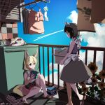 2girls alternate_costume animal animal_ears apron balcony bare_arms barefoot black_hair blonde_hair blue_sky book brown_eyes carrying casual cat clothes clothes_hanger clouds common_raccoon_(kemono_friends) contemporary day drying drying_clothes extra_ears eyebrows_visible_through_hair fennec_(kemono_friends) flower fox_ears fox_girl fox_tail full_body grey_hair hair_between_eyes highres holding holding_book japari_symbol kemono_friends laundry laundry_basket looking_at_another medium_hair medium_skirt miniskirt multicolored_hair multiple_girls nanana_(nanana_iz) outdoors raccoon_ears raccoon_girl raccoon_tail railing sandals shirt sidelocks sitting skirt sky sleeveless sleeveless_shirt smile sunflower tail tile_wall tiles toes walking washing_machine wind_chime