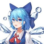 1girl bangs blue_bow blue_dress blue_eyes blue_hair bow bubble cirno collar dress eyebrows_visible_through_hair eyes_visible_through_hair fairy hair_between_eyes highres ice ice_wings looking_at_viewer mouma open_mouth puffy_short_sleeves puffy_sleeves red_bow red_neckwear shirt short_hair short_sleeves simple_background smile solo touhou upper_body white_background white_collar white_shirt white_sleeves wings