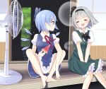 2girls :o ^_^ bangs barefoot black_bow black_hairband black_neckwear black_ribbon blue_bow blue_dress blue_eyes blue_hair blunt_bangs blush bob_cut bow bowtie breasts cirno closed_eyes darkness dress electric_fan eyebrows_visible_through_hair feet_out_of_frame green_skirt green_vest hair_behind_ear hair_ribbon hairband hands_on_lap highres hitodama ice ice_wings knees_together_feet_apart konpaku_youmu konpaku_youmu_(ghost) looking_at_another medium_breasts multiple_girls open_mouth outdoors petticoat pinafore_dress profile puffy_short_sleeves puffy_sleeves red_neckwear red_ribbon ribbon short_hair short_sleeves silver_hair skirt small_breasts smile sparkle stigma1101 toes touhou v_arms vest wings