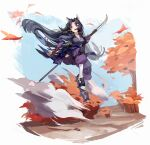 1girl absurdres animal_ears arknights bangs beads black_hair blue_kimono blue_sky blush breasts commentary dog_ears dog_girl dust facial_mark fingerless_gloves floating_hair forehead_mark full_body geta gloves highres hip_vent holding holding_weapon huge_filesize japanese_clothes jumping kimono knee_pads leaf leaves_in_wind long_hair looking_at_viewer medium_breasts naginata open_mouth pants parted_bangs polearm prayer_beads purple_pants saga_(arknights) sky solo symbol_commentary tabi tree violet_eyes weapon white_legwear wind zuihou_de_miao_pa_si