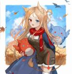 1girl animal animal_ears archetto_(arknights) arknights bird bird_ears blue_cape blue_eyes blue_sky brown_dress brown_hair cape clouds commentary dress griffin heterochromia highres holding holding_animal holding_bird lion_tail long_hair looking_at_viewer open_mouth red_eyes red_scarf scarf shirt skindentation sky solo spacelongcat tail wheat_field white_legwear white_shirt