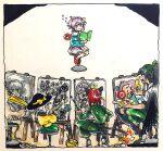 4girls bird black_hair book braid canvas_(object) doodle drawing green_hair highres kaenbyou_rin komeiji_koishi komeiji_satori morinokirin multiple_girls paint paintbrush pink_hair ponytail pose reading redhead reiuji_utsuho shoebill slippers touhou twin_braids