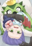1boy blue_hair cacnea chimecho gen_3_pokemon gen_4_pokemon green_eyes highres james_(pokemon) mime_jr. pokemon team_rocket tsukimiya_0711