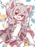 1girl :d ahoge animal_ears bangs basket bloomers blush capelet clothing_cutout commentary_request dowsing_rod dress eyebrows_visible_through_hair foot_out_of_frame grey_capelet grey_dress grey_hair hair_between_eyes highres holding holding_stick looking_at_viewer mouse mouse_ears mouse_tail nazrin open_mouth red_eyes rekishitai_hoonoji ribbon short_hair simple_background smile solo stick tail tail_hold touhou underwear white_background yellow_neckwear yellow_ribbon