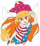 1girl :d american_flag_legwear american_flag_shirt bangs blonde_hair bright_pupils clownpiece cropped_legs eyebrows_visible_through_hair fairy_wings fang hair_between_eyes hat holding holding_torch ini_(inunabe00) jester_cap long_hair looking_at_viewer neck_ruff open_mouth pink_eyes pink_headwear polka_dot_headwear shirt short_sleeves simple_background skin_fang smile solo star_(symbol) star_print striped striped_legwear striped_shirt torch touhou white_background white_pupils wings