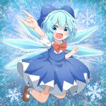 1girl :d \m/ bangs blue_background blue_bow blue_dress blue_eyes blue_hair bow bowtie brown_footwear cirno clenched_hand coruthi dress eyebrows_visible_through_hair full_body hair_bow highres ice ice_wings looking_at_viewer open_mouth pinafore_dress red_bow red_neckwear shirt short_hair short_sleeves smile snowflakes solo starry_background touhou white_legwear white_shirt wings