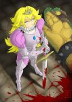 1boy 1girl adapted_costume after_battle armor blonde_hair blood blood_splatter bloody_clothes blue_eyes blunt-katana bowser breastplate claws death from_above gauntlets glowing glowing_eyes greaves highres long_hair long_sleeves looking_up super_mario_bros. medieval out_of_frame plate_armor princess_peach puffy_long_sleeves puffy_sleeves smile solo_focus standing sword tiara weapon
