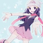 1girl :d beanie black_legwear blush boots bracelet commentary_request dawn_(pokemon) enamo_(dcah) eyelashes floating_scarf grey_eyes hair_ornament hairclip hat highres jewelry long_hair looking_at_viewer open_mouth outstretched_hand pink_footwear pink_skirt poke_ball_print pokemon pokemon_(game) pokemon_dppt purple_scarf scarf shirt skirt sleeveless sleeveless_shirt smile socks solo tongue white_headwear
