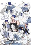 1boy 2others animal belt biceps blue_hair bracelet capelet closed_eyes cu_chulainn_(caster)_(fate) cu_chulainn_(fate)_(all) dog elbow_gloves fang fate/grand_order fate_(series) from_behind full_body fur-trimmed_hood fur_trim gloves greaves harem_pants highres hood hood_down hooded_capelet jewelry long_hair male_focus multiple_others multiple_views muscular muscular_male nozawa pants paw_print petting red_eyes simple_background sitting skin_tight sleeping smile spiky_hair standing tail tail_wagging tank_top toeless_footwear white_wolf wolf