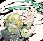 1girl ahoge arm_up arm_warmers bangs black_shirt blonde_hair breasts bright_pupils brown_jacket eyebrows_visible_through_hair green_eyes highres holding_candle jacket looking_up massakasama mizuhashi_parsee open_mouth pointy_ears scarf shirt short_hair short_sleeves solo touhou upper_body white_background white_pupils white_scarf