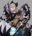 1girl :o akitama2727 bandages bangs bare_shoulders blonde_hair blood bloody_bandages braid briar_rose_(sinoalice) disembodied_limb dress grey_background hair_between_eyes hair_ornament headband highres looking_at_viewer nightgown one_eye_closed open_mouth pajamas short_hair short_sleeves simple_background sinoalice solo thorns torn_clothes torn_dress yellow_dress yellow_eyes