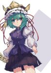 1girl asymmetrical_hair bangs black_skirt blouse blue_eyes blue_vest closed_mouth eyebrows_visible_through_hair frilled_hat frills green_eyes hair_between_eyes hat highres holding picoli1313 rod_of_remorse shiki_eiki short_hair simple_background skirt solo touhou two-tone_background vest white_blouse