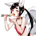 1girl animal_ear_fluff animal_ears black_hair breasts chinese_clothes chopsticks dudou dumpling eating facial_mark food fox_ears fox_girl fox_tail hands_up hu-er_(robot_cat) long_hair navel open_mouth original ponytail red_eyes robot_cat shadow small_breasts solo tail tongue tongue_out upper_body whisker_markings