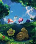bandana_waddle_dee blue_sky blush_stickers bug butterfly butterfly_net cerulean_(kirby) chip_(kirby) flower gooey grizzo hand_net highres insect kirby kirby_(series) leafan looking_up lovely_(kirby) running shade sky smile suyasuyabi tree