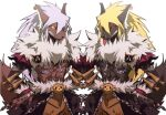 2boys bangs black_cape blonde_hair brown_pants cape chain commentary_request cowboy_shot dagger earrings emon-yu fur-trimmed_cape fur_collar fur_trim furrification furry hair_between_eyes jewelry knife long_hair looking_at_viewer male_focus mirror_image multiple_boys pants ragnarok_online red_eyes shadow_chaser_(ragnarok_online) shrug_(clothing) simple_background tongue tongue_out waist_cape weapon white_background white_hair