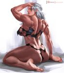1girl abs ass back breasts butt_crack dorohedoro large_breasts long_hair looking_at_viewer muscular muscular_female noi_(dorohedoro) panties red_eyes rejean_dubois simple_background solo torn_clothes underwear white_hair