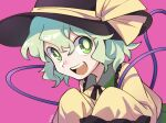 1girl bangs black_headwear black_neckwear blouse bow collar eyebrows_visible_through_hair frills green_collar green_eyes green_hair green_skirt hair_between_eyes hat hat_bow highres holding komeiji_koishi long_sleeves looking_at_viewer open_mouth pink_background shikido_(khf) simple_background skirt smile solo teeth tongue touhou upper_body yellow_blouse yellow_bow yellow_sleeves