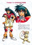 1990s_(style) 1girl armor armored_boots bangs blue_eyes blue_hair boots breastplate crossed_arms fingerless_gloves gloves hairband hand_on_hip highres hikyou_tanken_fam_&_ihrie holding holding_sword holding_weapon ihrie knee_pads long_hair looking_at_viewer mouse official_art open_mouth pauldrons planted planted_sword retro_artstyle short_sleeves shorts shoulder_armor smile solo standing sword tail tanaka_kunihiko text_focus transformation weapon whiskers