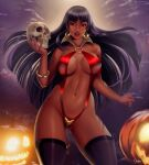 1girl ass_visible_through_thighs bangs blunt_bangs blurry blurry_background breasts dark-skinned_female dark_skin darkra earrings highres jack-o'-lantern jewelry large_breasts lips long_hair looking_at_viewer navel parted_lips red_eyes red_lips skull slingshot_swimsuit solo swimsuit thigh-highs vampirella vampirella_(character)