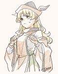 1girl bangs blonde_hair blush breasts brown_headwear cape closed_mouth detached_sleeves eyebrows_visible_through_hair green_skirt grey_headwear hands_up hat highres long_hair long_sleeves looking_to_the_side matara_okina medium_breasts orange_cape orange_eyes orange_sleeves shikido_(khf) shirt simple_background skirt solo standing touhou white_background white_shirt white_sleeves