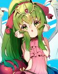 1girl child dragon_girl dragon_wings fire_emblem fire_emblem:_mystery_of_the_emblem fire_emblem_heroes frilled_swimsuit frills green_eyes green_hair hair_between_eyes head_tilt highres long_hair looking_at_viewer manakete nakabayashi_zun official_alternate_costume one-piece_swimsuit pink_swimsuit ponytail solo swimsuit tiara tiki_(fire_emblem) wings