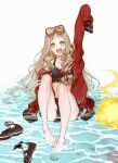 1girl arm_up ball barefoot beachball bikini blonde_hair blood blood_splatter buckle feet footwear_removed full_body goggles goggles_on_head hair_ribbon happy highres jacket legs little_red_riding_hood_(sinoalice) long_hair looking_at_viewer ogamiomi open_mouth orange_eyes ribbon sandals sandals_removed scratches sinoalice sitting solo swimsuit thighs toes water wavy_hair wet