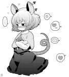 1girl animal_ears artist_logo bangs black_skirt black_vest blush cheese commentary_request cowboy_shot cropped_legs crossed_arms embarrassed food greyscale heart jewelry long_sleeves monochrome mouse_ears mouse_tail nazrin pendant shirt short_hair simple_background skirt solo spoken_heart spoken_object sweat tail tanasuke touhou vest white_background white_shirt