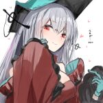 1girl aqua_gloves aqua_headwear arknights bangs dress eyebrows_visible_through_hair gloves hair_between_eyes heart highres long_hair looking_at_viewer pointy_hat raw_egg_lent red_dress red_eyes silver_hair skadi_the_corrupting_heart_(arknights) smile solo white_background wide_sleeves